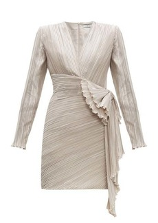 Givenchy Bow-embellished plissé-satin dress