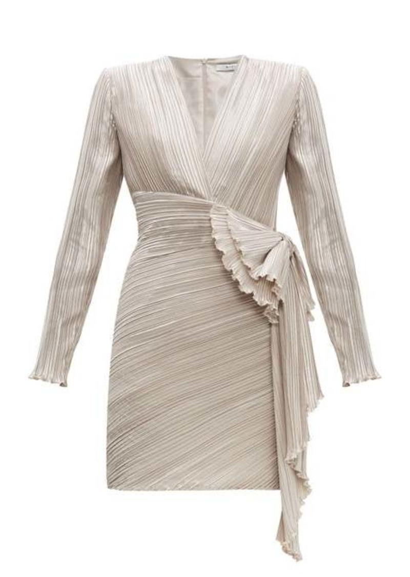 Givenchy Bow-embellished plissé-satin dress