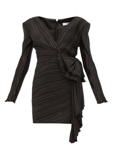 Givenchy Bow-embellished plissé-satin mini dress