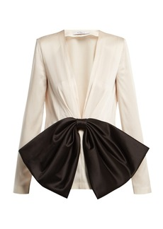 Givenchy Bow-front V-neck satin blouse