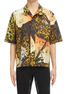 Givenchy Boxy Logo Short Sleeve Cotton Button-Up Shirt