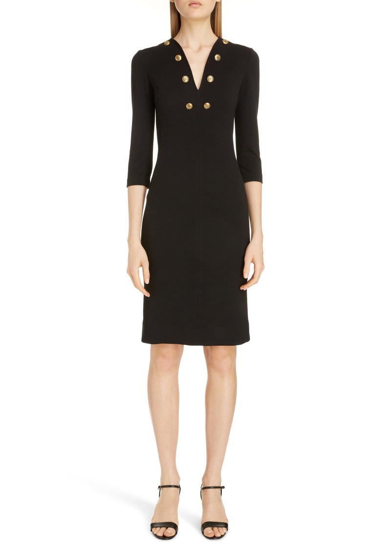 Givenchy Button Detail Jersey Sheath Dress