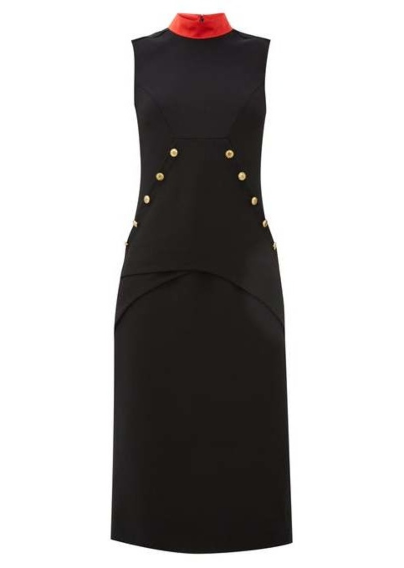 Givenchy Button-embellished wool-crepe dress