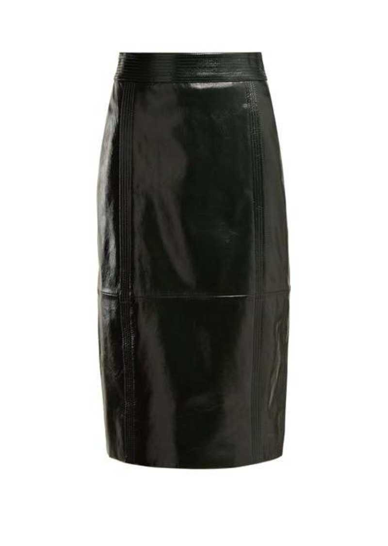 Givenchy Buttoned-back high-rise leather pencil skirt