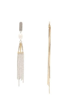 Givenchy Cascade mismatched crystal and pearl earrings