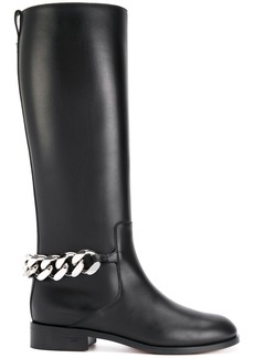 Givenchy chain and leather boots - Black