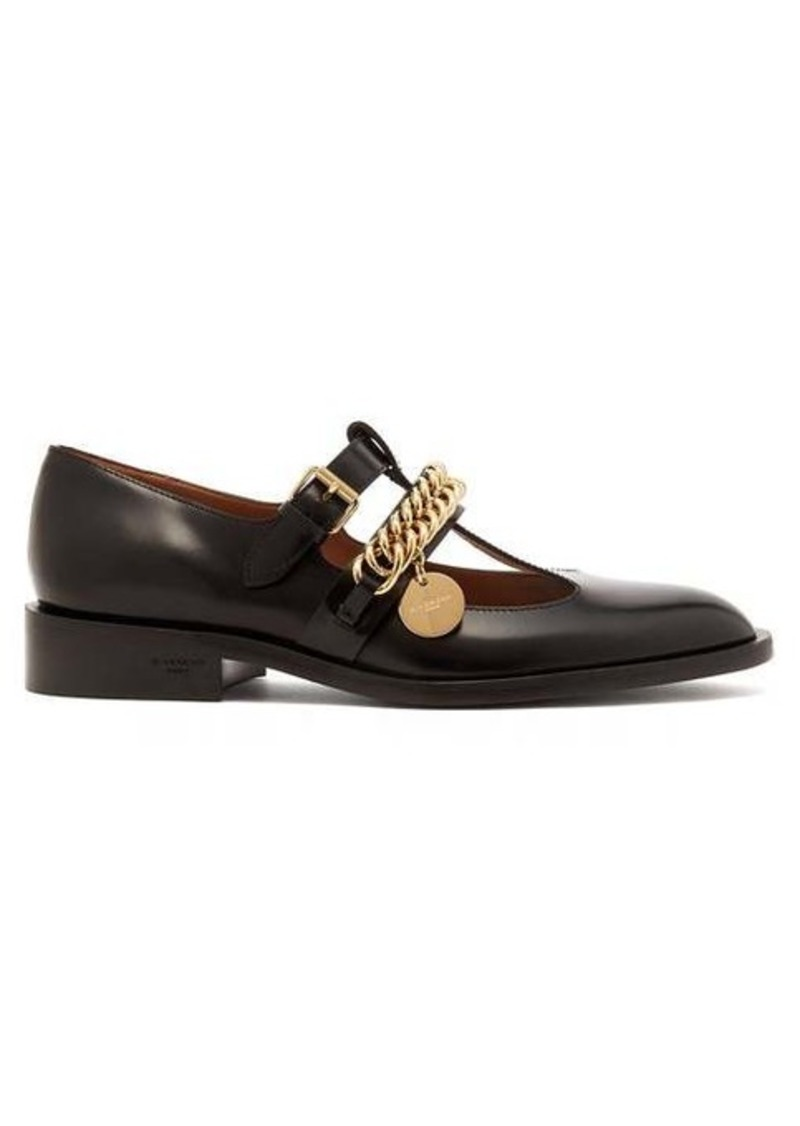 Givenchy Chain-embellished leather Mary-Jane flats