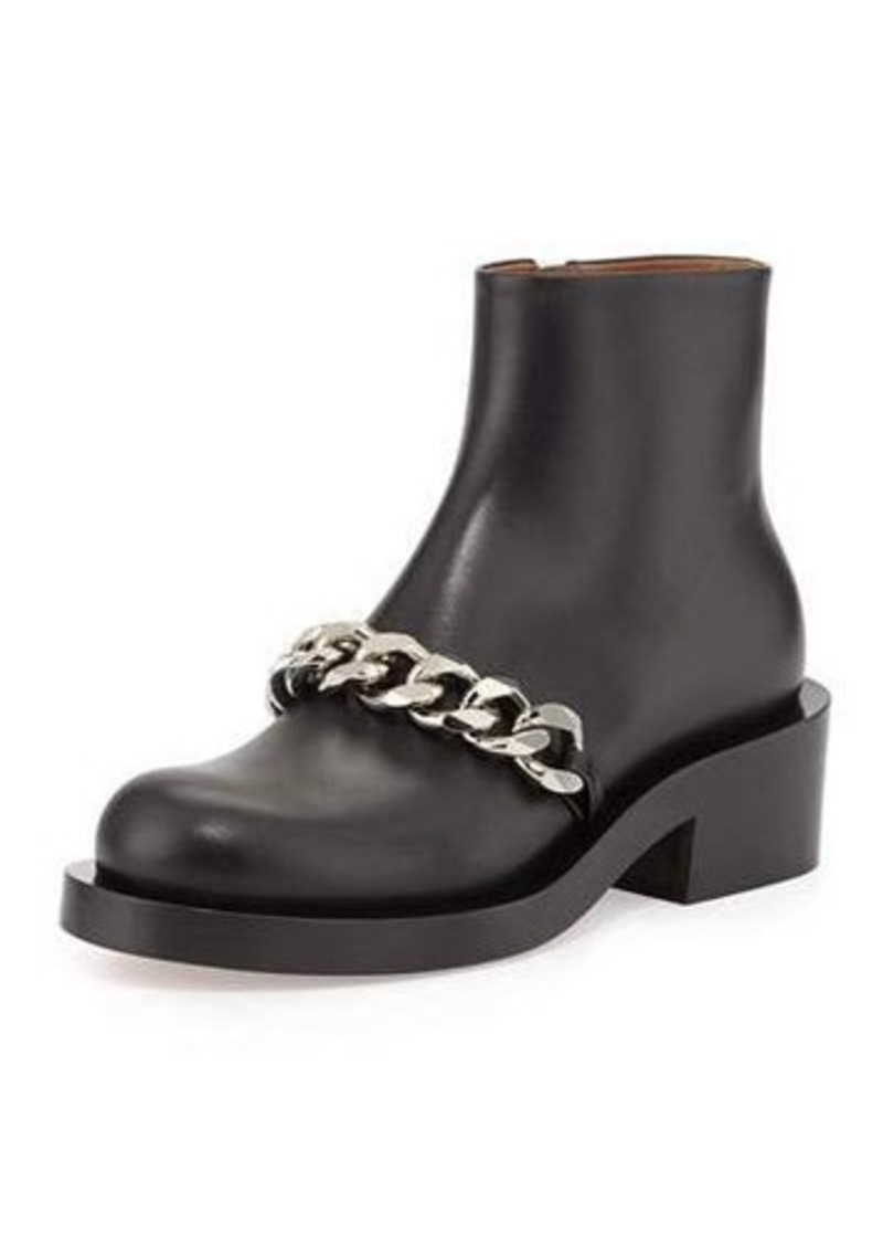 Givenchy Chain Strap Leather Bootie
