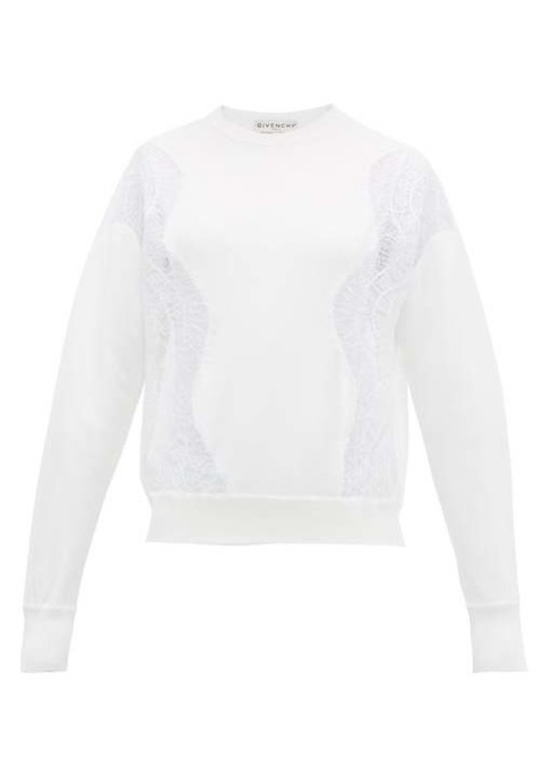 Givenchy Chantilly lace-panelled crepe sweatshirt