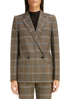 Givenchy Check Double Breasted Wool Jacket