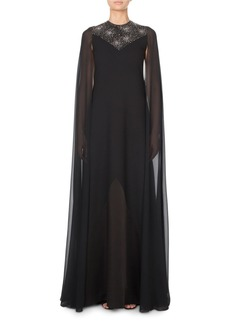 Givenchy Chiffon Cape-Sleeve Gown