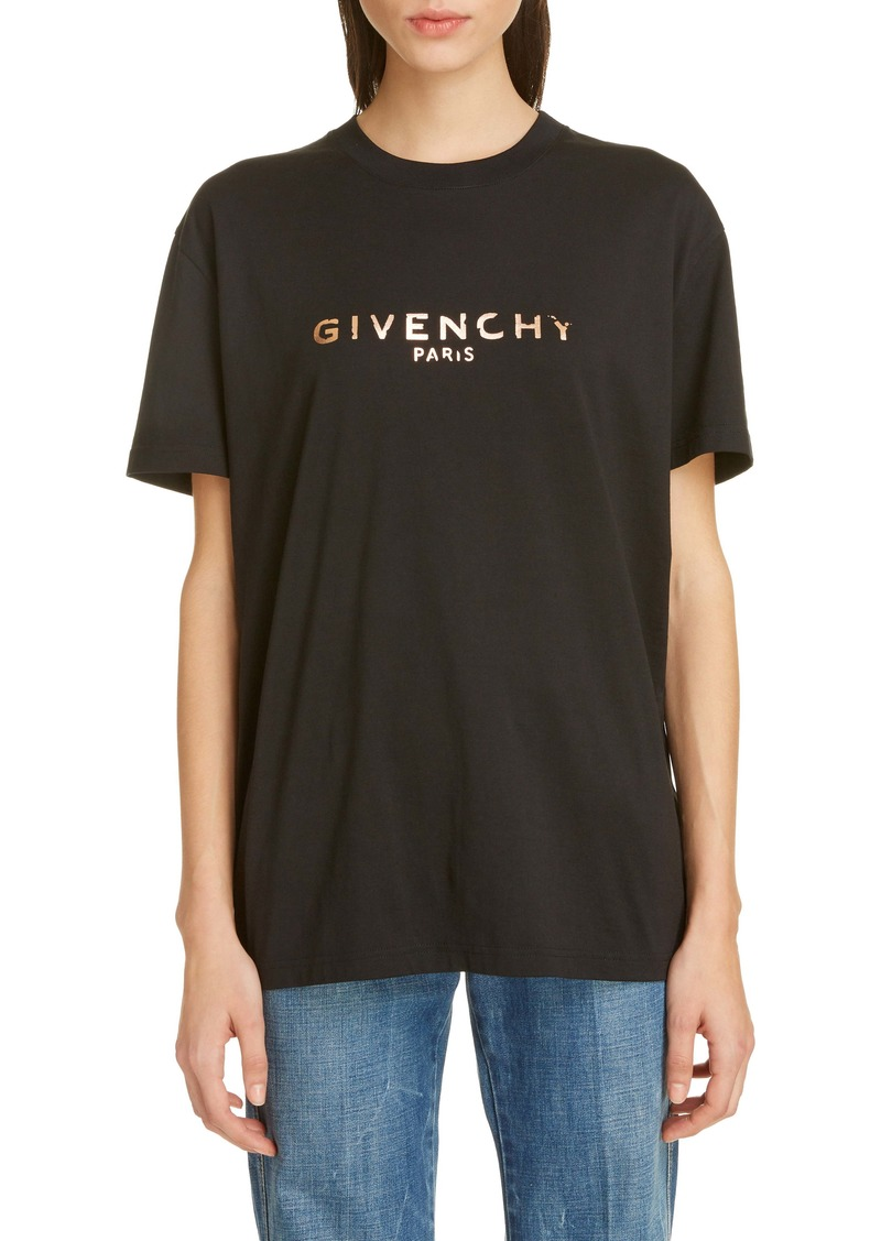 Givenchy Chipped Rose Gold Logo Tee