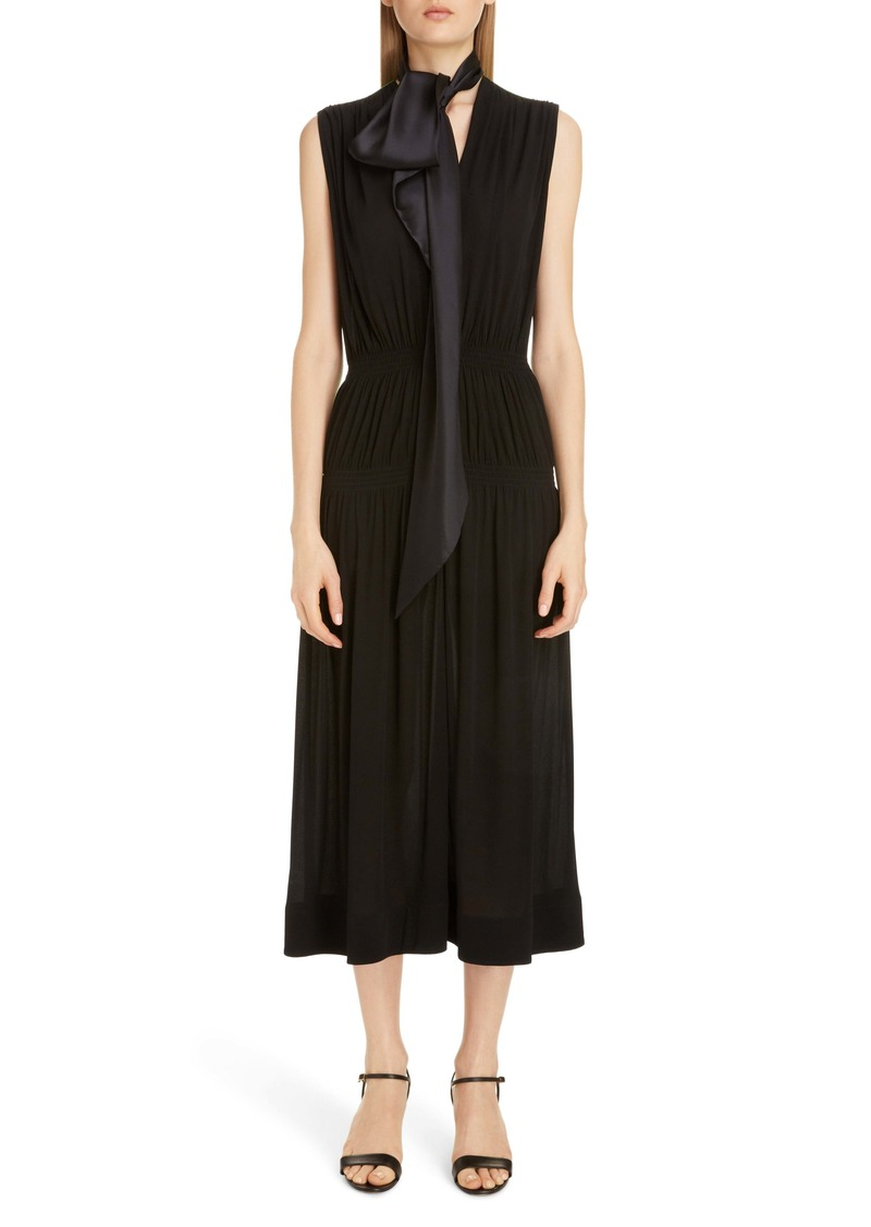 Givenchy Colorblock Tie Neck Midi Dress