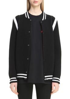 Givenchy Contrast Knit Trim Logo Bomber Jacket