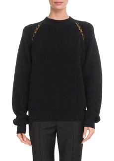 Givenchy Crewneck Long-Sleeve Wool Pullover Sweater w/ Chain Detail
