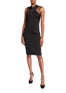 Givenchy Crisscross-Front Tulle-Shoulder Bodycon Dress