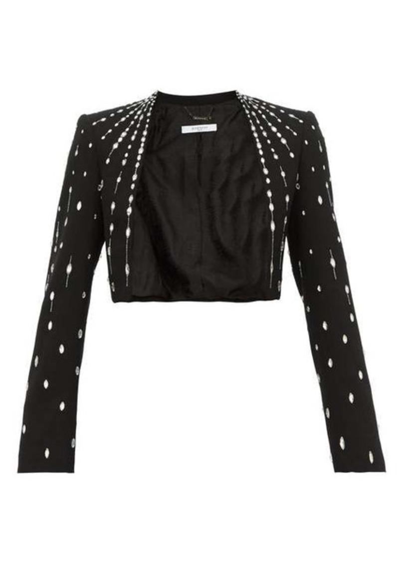 Givenchy Cropped crystal-embellished wool jacket