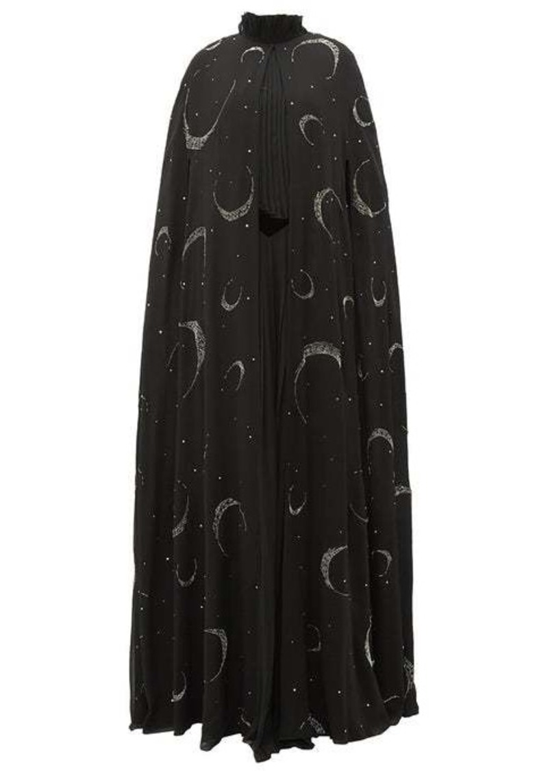 Givenchy Crystal-beaded moon silk-chiffon cape
