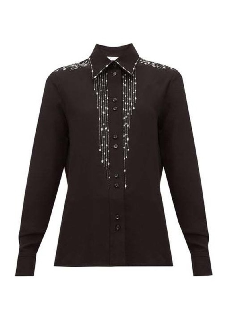 Givenchy Crystal-embellished silk-crepe blouse
