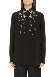 Givenchy Crystal Embellished Silk Shirt