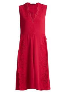 Givenchy Deep V-neck floral lace-trimmed cady dress