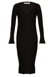 Givenchy Deep V-neck ribbed-knit wool midi dress