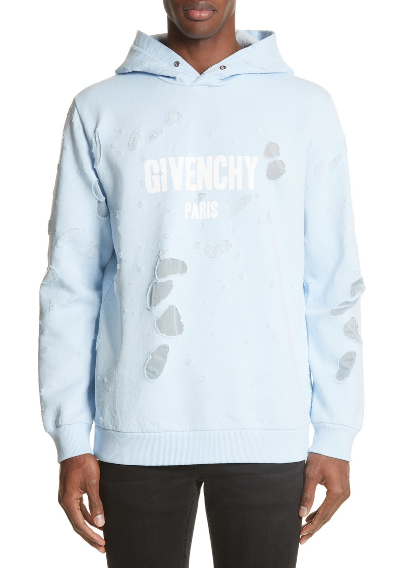 1e6e506dffc763 Givenchy Givenchy Destroyed Logo Print Hoodie   Outerwear