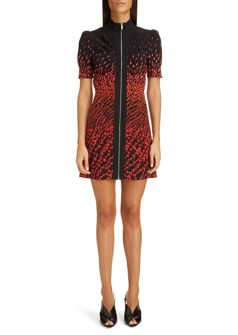 Givenchy Dégradé Feather Print Silk Crepe Minidress