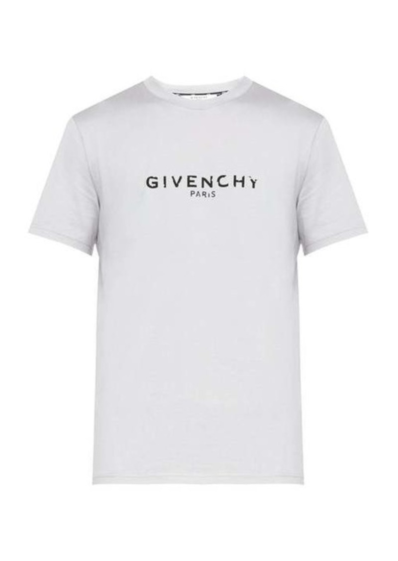 Givenchy Distressed logo cotton-jersey T-shirt
