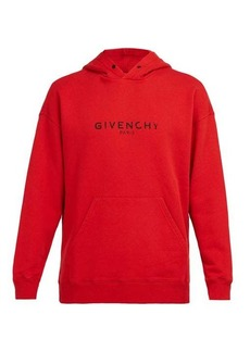 Givenchy Distressed-logo print cotton hooded sweatshirt