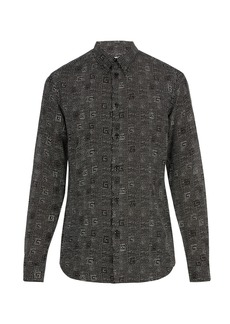 Givenchy Dot-print cotton and silk-blend shirt