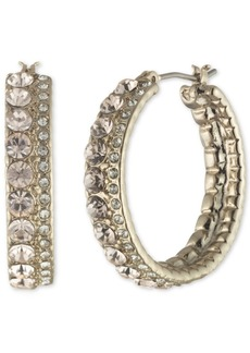 """Givenchy Double Pave Medium Hoop Earrings, 1.16"""""""