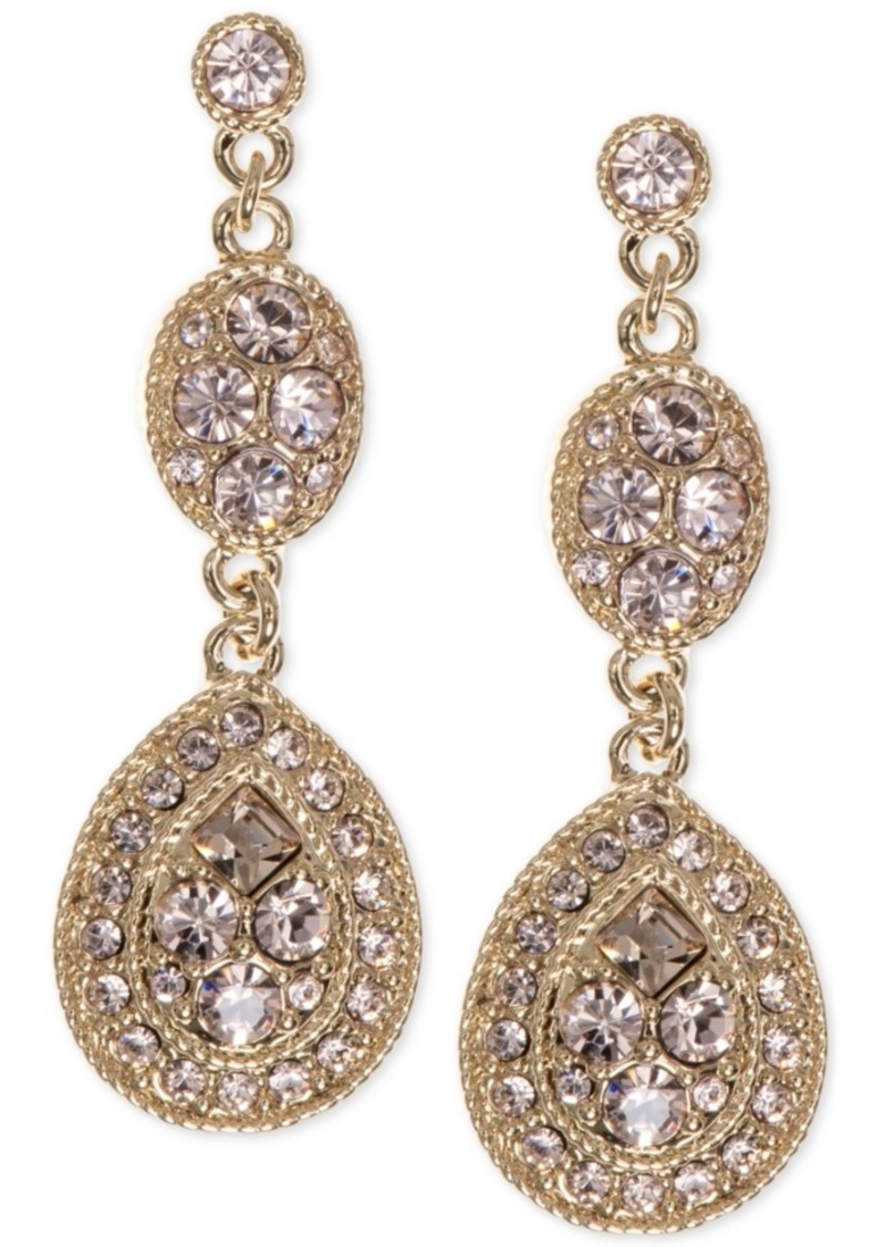 Givenchy Earrings, Crystal Linear Teardrop