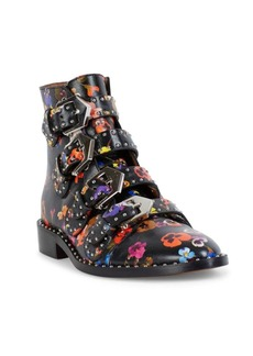 Givenchy Elegant Line Leather Floral-Print Booties