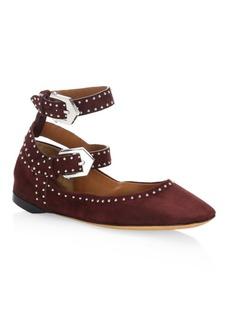 Givenchy Elegant Line Studded Suede Ballet Flats