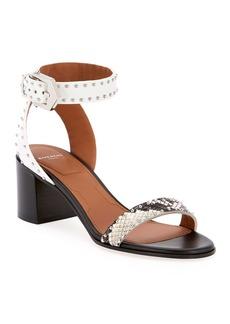 Givenchy Elegant Snake-Print Studded Sandals