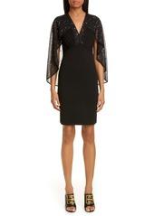 Givenchy Embellished Cape Knit Sheath Dress