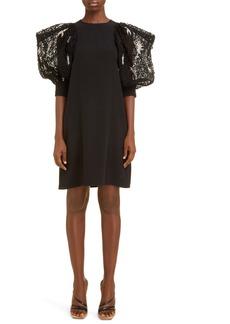 Givenchy Embellished Lace Sleeve Crepe Shift Dress