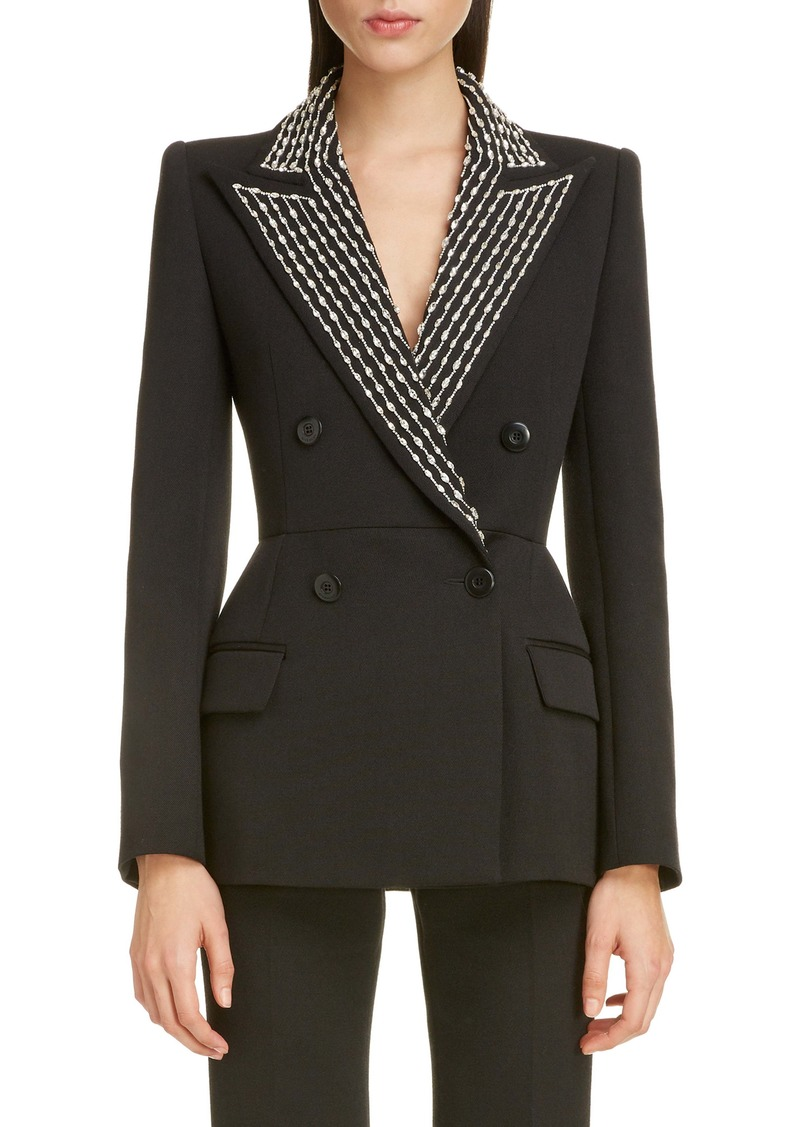 Givenchy Embellished Lapel Wool & Silk Jacket