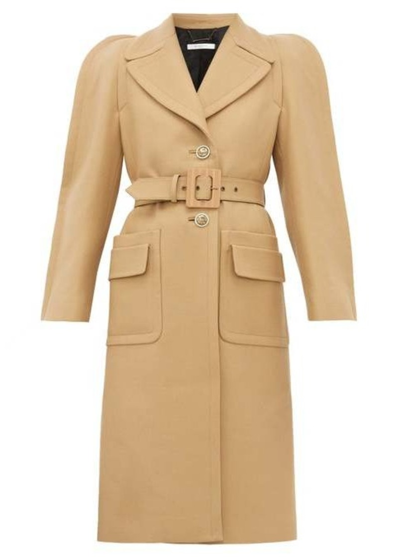 Givenchy Exaggerated-shoulder belted wool-blend coat