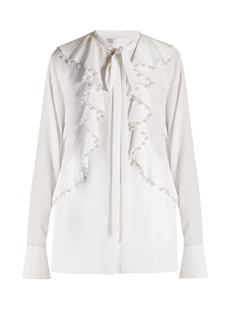 Givenchy Faux-pearl embellished ruffled blouse