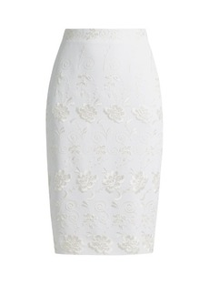 Givenchy Floral-embroidery stretch-crepe skirt