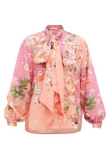Givenchy Floral-print detachable pussy-bow silk blouse