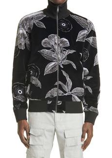 Givenchy Floral Schematics Print Velour Track Jacket