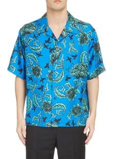 Givenchy Floral Short Sleeve Silk Shirt