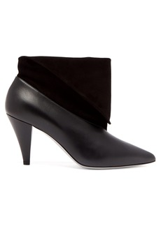 Givenchy Folded-cuff suede and leather ankle boots