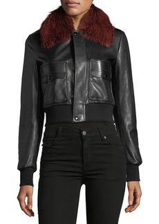 Givenchy Fox-Fur Collar Button-Front Leather Bomber Jacket