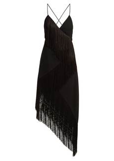 Givenchy Fringed asymmetric hem wool-crepe dress