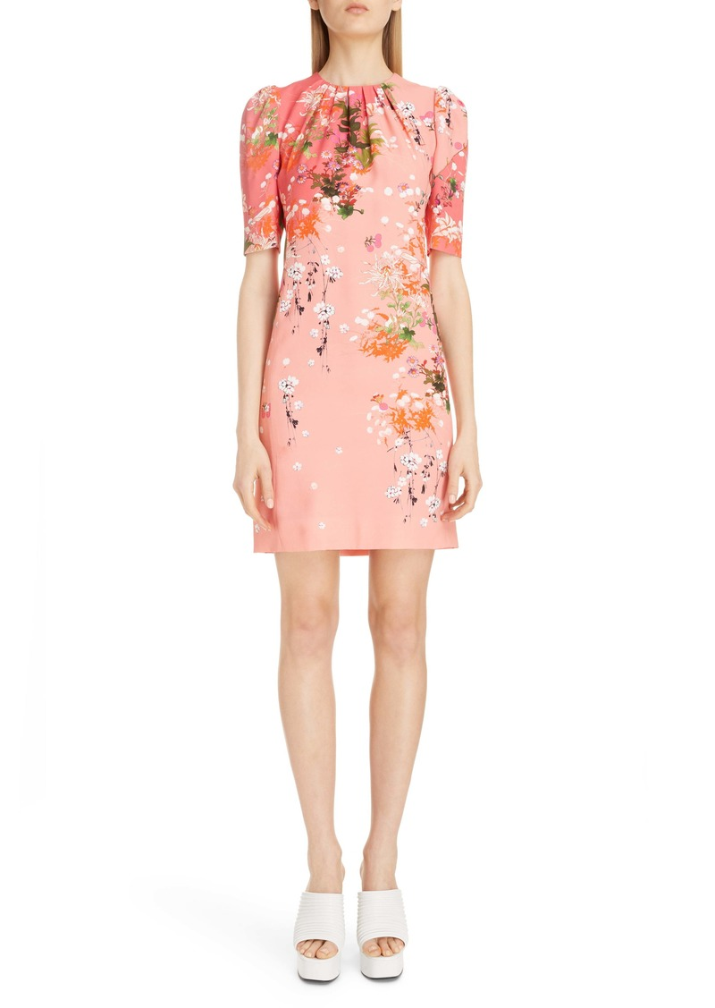 Givenchy Gathered Neck Floral Print Crepe Dress