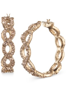"""Givenchy Gold-Tone Medium Pave Twist Hoop Earrings, 1.25"""" x 1.5"""""""